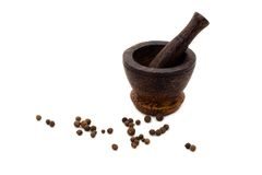 svart kulinarisk trämortelpeppar Arkivbild
