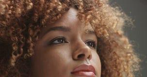 Svart kvinna för blandat lopp med den neutrala makeupståenden Arkivbild