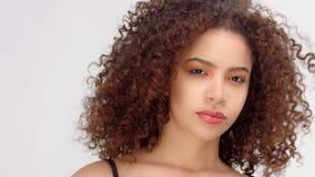 Svart kvinna för blandat lopp med fräknar och closeupståenden för lockigt hår med att blåsa för hår lager videofilmer