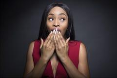 Svart kvinnlig med chockade uttryck royaltyfri foto