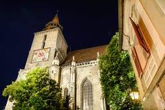Svart kyrka Brasov i natt Royaltyfria Foton