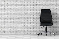 Svart läderframstickande Office Chair framförande 3d stock illustrationer