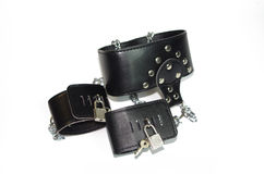 Svart läderkrage med handleden på w Royaltyfri Bild