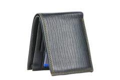 Svart läderplånbok som isoleras över white Royaltyfria Bilder
