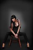 svart lady Fotografering för Bildbyråer