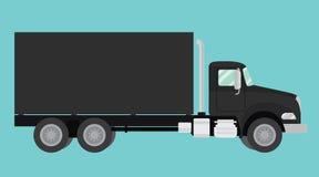 Svart lastbil isolerad illustration för stora hjul stock illustrationer