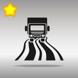 Svart lastbil på det högkvalitativa begreppet för symbol för logo för vägsymbolsknapp Royaltyfri Bild