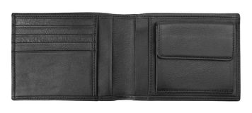 svart läderplånbok Arkivfoto