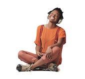 Svart le för flicka Arkivfoton