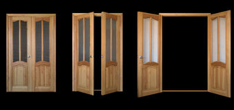 svart leaf för dörr 3view över två Arkivfoton