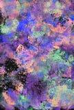 Svart, lilor och gräsplan texturerade kludd av akrylmålarfärg Royaltyfri Foto