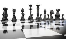 svart linje chess3 Royaltyfria Bilder