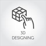 Svart linje framtid för teknologi för digital simulering för symbolsapparat faktisk modellera stock illustrationer