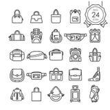 Svart linje symbolsuppsättning av påsar för websiten som isoleras på vit bakgrund Royaltyfri Foto