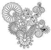 Svart linje utsmyckad blommadesign för konst, ukrainare Royaltyfri Bild
