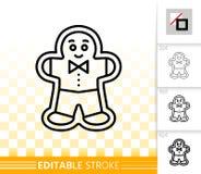 Svart linje vektorsymbol för pepparkakakakamän royaltyfri illustrationer