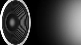 Svart ljudsignal högtalare på svart bakgrund, kopieringsutrymme illustration 3d Arkivbild