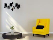 Svart ljuskrona och gul stol Fotografering för Bildbyråer