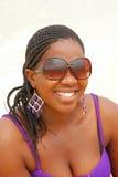 svart lycklig kvinna royaltyfria bilder
