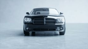 Svart lyxig bil i studio Realistisk animering 4K stock video