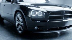 Svart lyxig bil i studio Realistisk animering 4K arkivfilmer