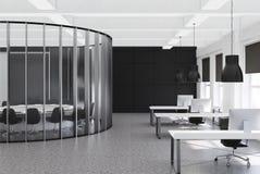 Svart mötesrum- och kontorsinre Royaltyfri Foto