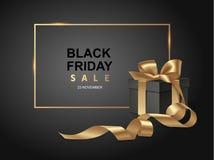 Svart mall för fredag försäljningsdesign Svart bakgrund med gåva stock illustrationer