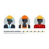 Svart man byggnadsarbetare för sidosikt, arbetsstyrka, leverantörockupationjobb Royaltyfri Bild