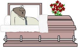 Svart man som vaknar upp inom en casket Royaltyfri Bild