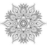 Svart Mandala för blomma Orientalisk modell, vektorillustration Islam arabiska, indiska ottomanmotiv Sida för färgläggningbok stock illustrationer