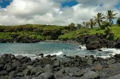 svart maui för strand sand Royaltyfri Foto