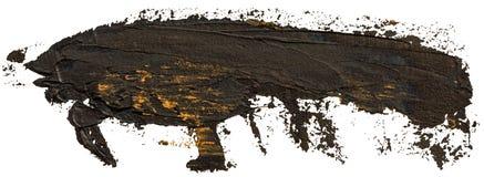 Svart med guld- fläckar oljer texturhandmålarfärg arkivbild