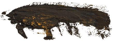 Svart med guld- fl?ckar oljer texturhandm?larf?rg stock illustrationer