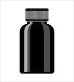 Svart medicinflaska Sirapmedicinflaska Spilla på preventivpillerar för att ytbehandla Fotografering för Bildbyråer