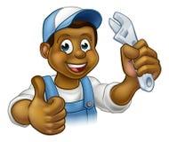 Svart mekaniker eller rörmokare Handyman royaltyfri illustrationer