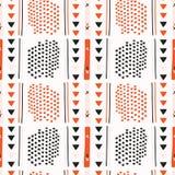 Svart Memphis Style Geometric Abstract Seamless vektor som är röd och royaltyfri illustrationer