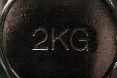Svart metallisk hantel som väger 2 kg Royaltyfria Bilder
