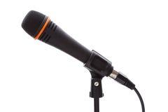 Svart mikrofon med kabel Arkivfoto