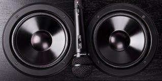 Svart mikrofon på högtalarna Royaltyfri Foto