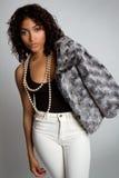 svart modekvinna royaltyfria bilder