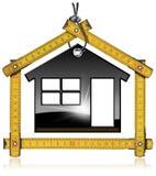 Svart modell House och trähopfällbar linjal Fotografering för Bildbyråer
