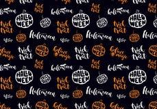 Svart modell med apelsinen|vita symboler av halloween vektor illustrationer