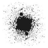 Svart monokromt färgpulver eller målarfärg bläckar ner grungebakgrund Texturvektor Korn för dammsamkopieringsnödläge Svart splatt vektor illustrationer
