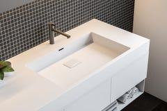 Svart mosaikväggbadrum, bästa sikt för dubbel vask vektor illustrationer