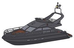 Svart motorisk yacht stock illustrationer