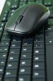 Svart mus och tangentbord Arkivfoton