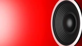 Svart musikhögtalare på röd bakgrund, kopieringsutrymme illustration 3d Fotografering för Bildbyråer