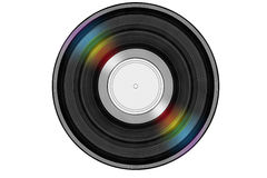 Svart musikrekord med kulört regnbågereflexionsljus Royaltyfria Bilder