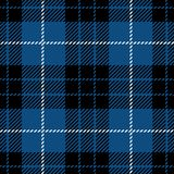 Svart och blå sömlös skotsk modell för tartanpläd Stock Illustrationer