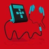 Svart och den blåa spelaren MP3 förbinds till hörluren Arkivfoto